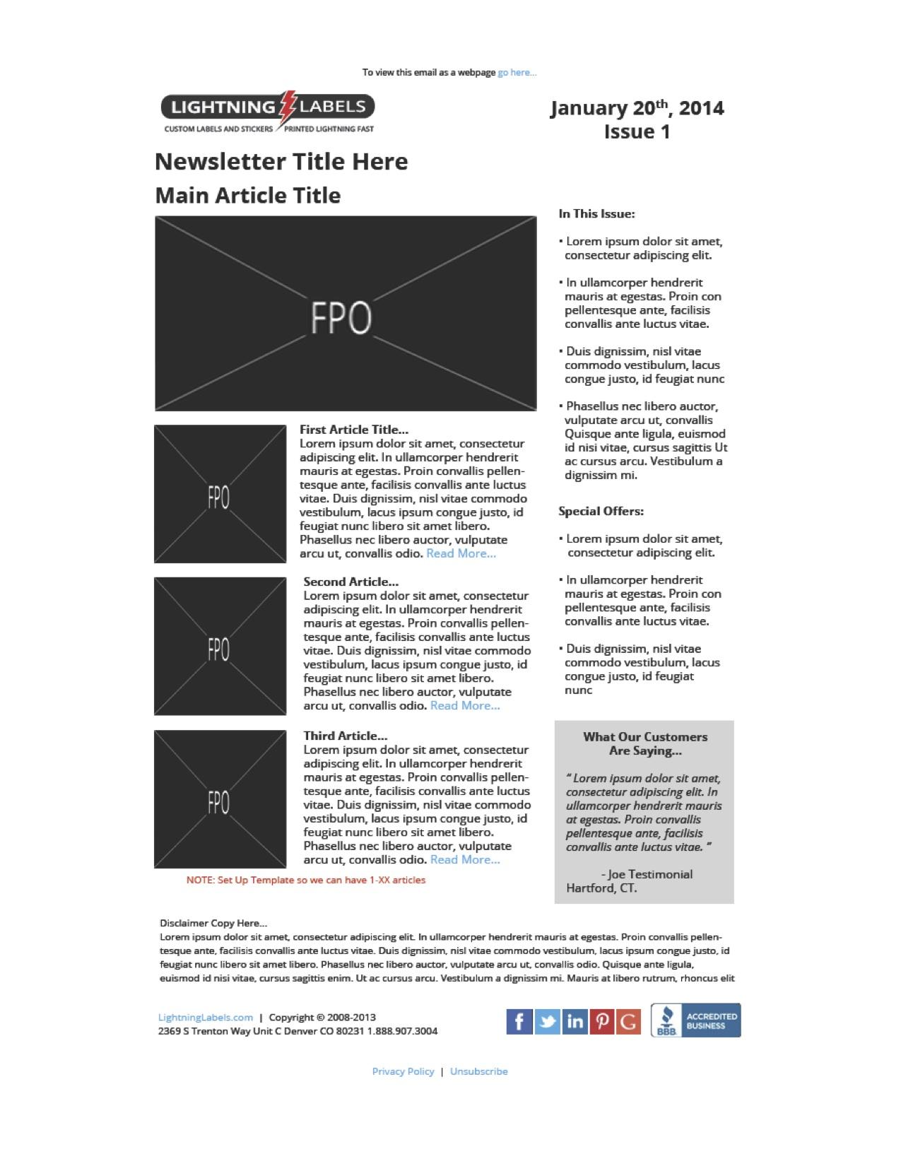 Newsletter Wireframe